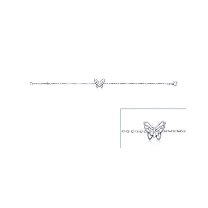 Bratara lant + fluture din argint