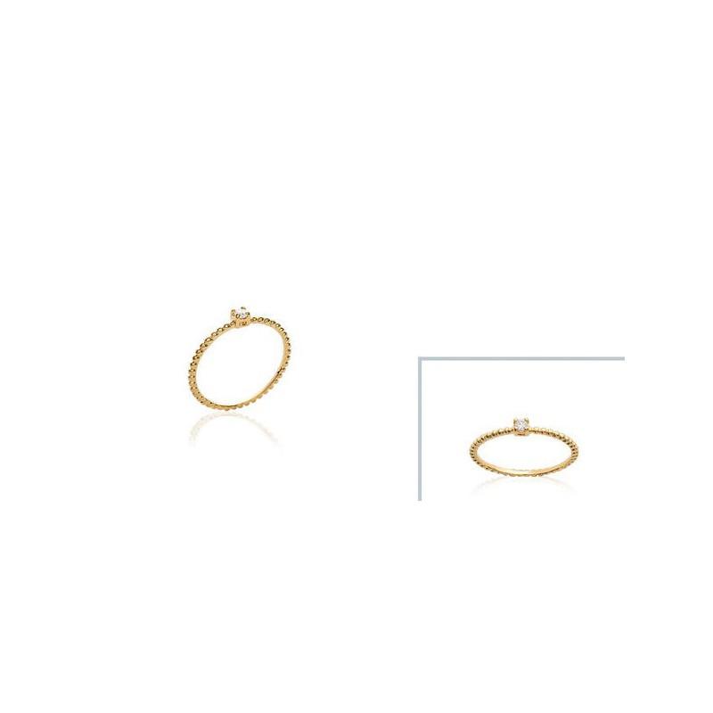 Inel placat cu aur + pietricica alba (zirconiu)
