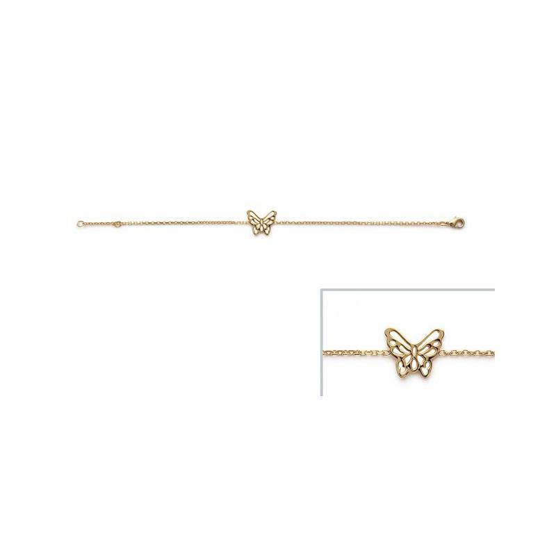 Bratara lant + fluture placat cu aur