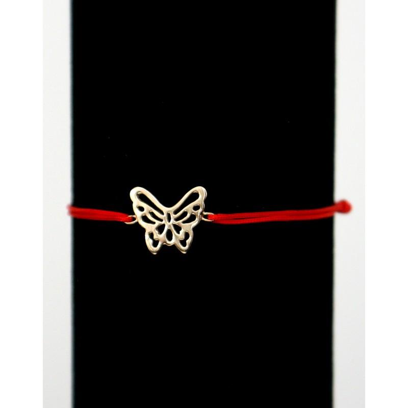 Bratara snur + fluturas placat cu aur