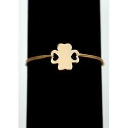 Bratara snur + trifoi cu gauri in forma de inima placat cu aur