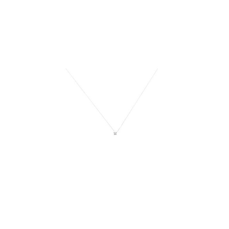 Colier fir nylon + pietricica alba (zirconiu) & argint