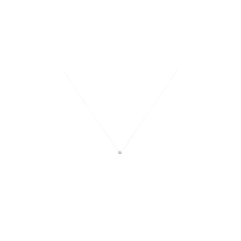 Colier fir nylon + pietricica rotunda (zirconiu) & argint