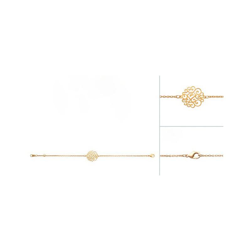Bratara lant + pandantiv dantelat placat cu aur