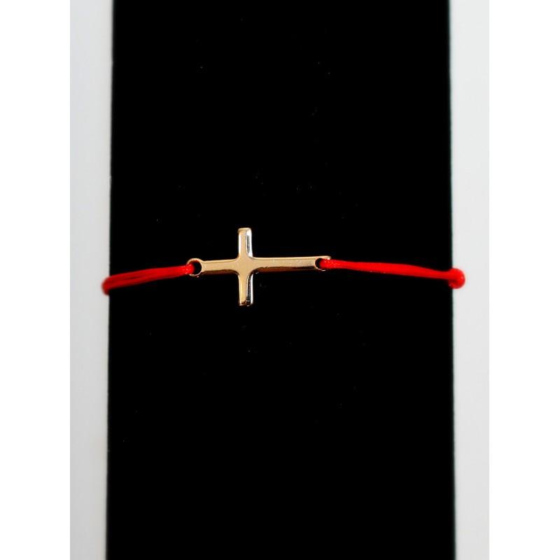 Bratara snur + cruce placata cu aur