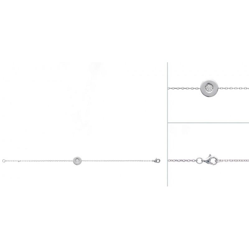 Bratara lant + banut din argint & zirconiu