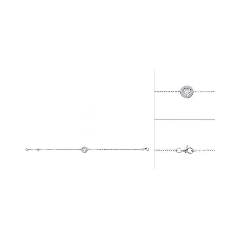 Bratara lant + banut din argint & inima zirconiu