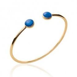 Bratara fixa placata cu aur + 2 pietre albastre