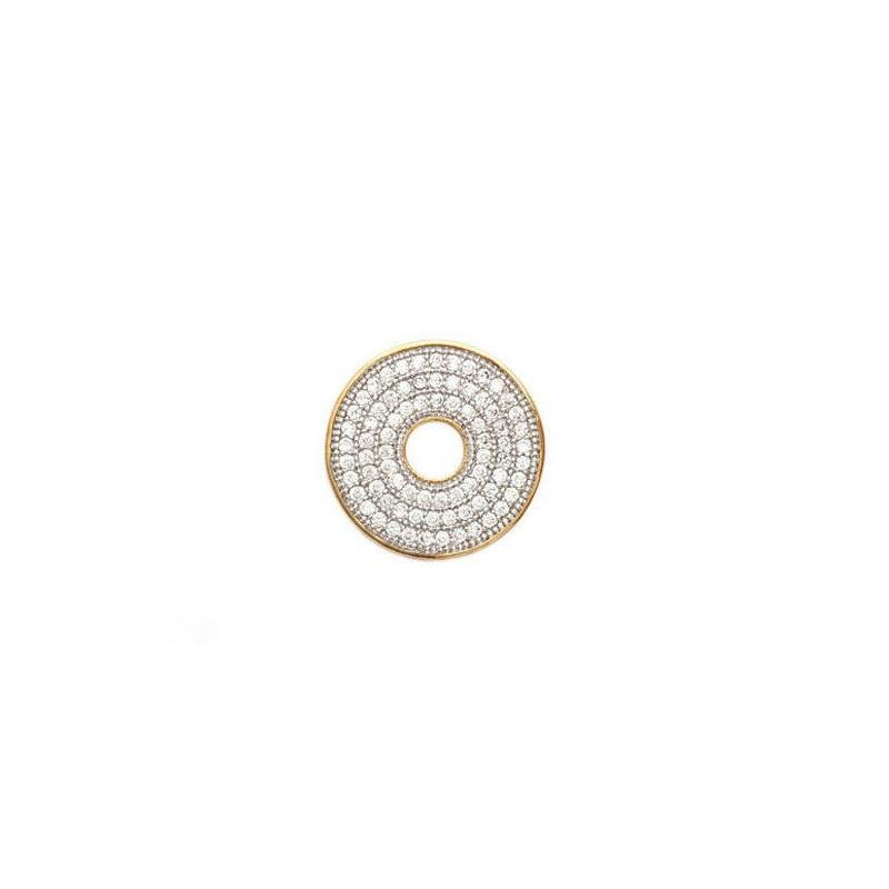 Pandantiv donut placat cu aur + zirconiu