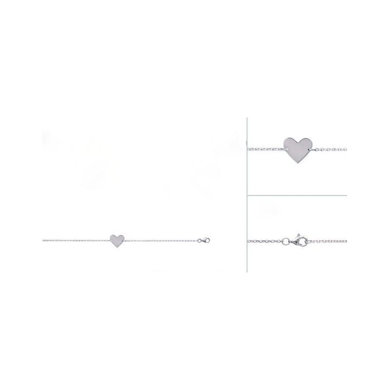 Bratara lant + inima din argint