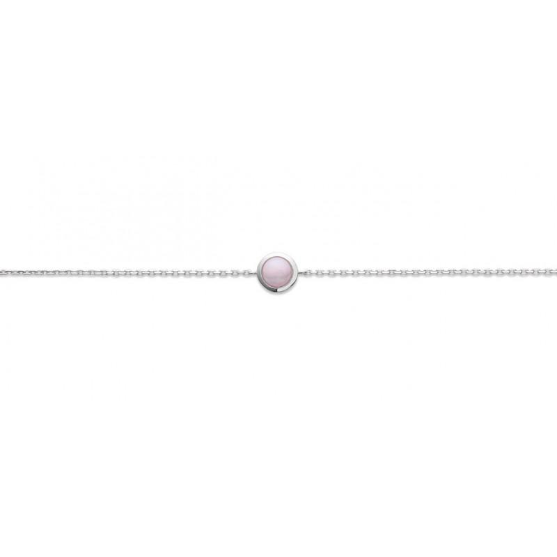 Bratara lant + piatra roz pal din argint