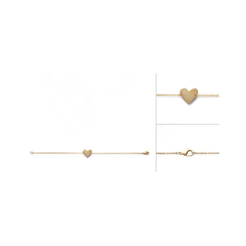 Bratara lant + inima placata cu aur