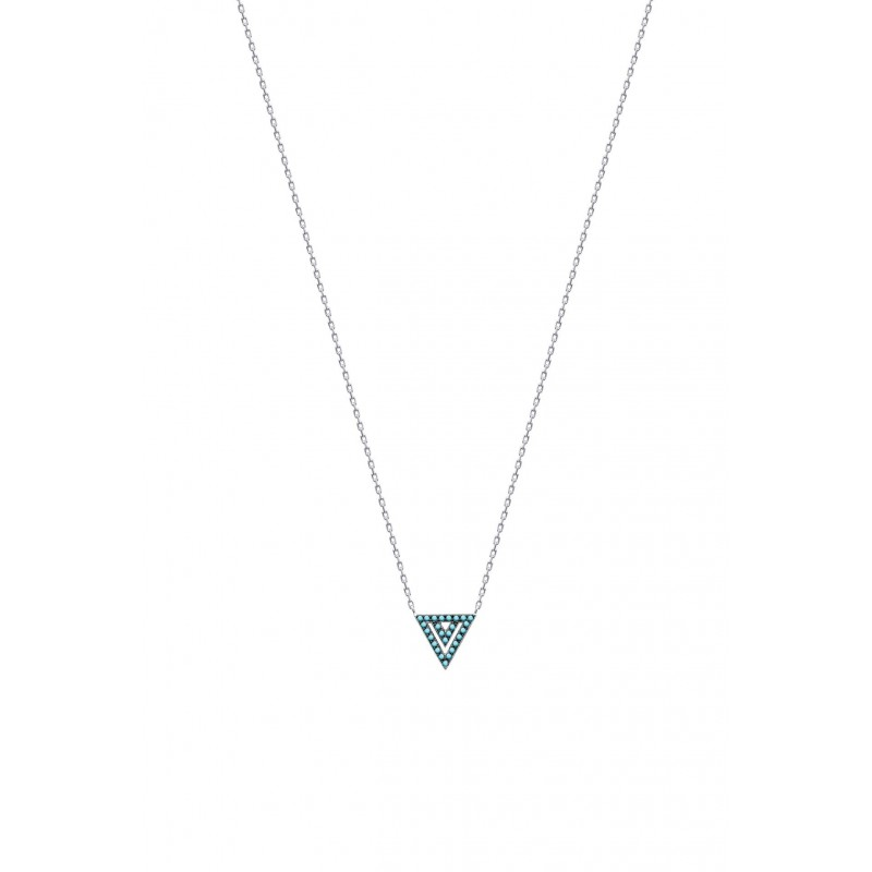 Colier triunghi din argint & pietre turquoise