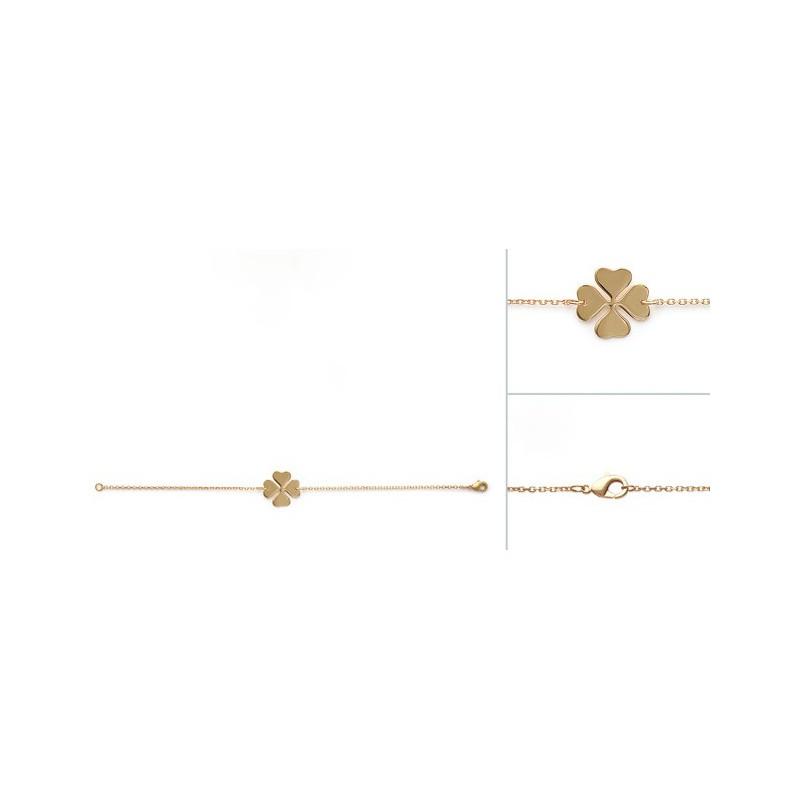 Bratara lant + trifoi placat cu aur