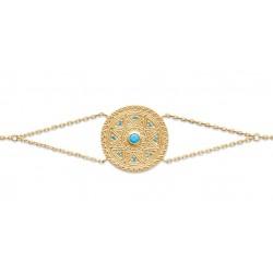 Bratara cu disc placata cu aur & pietre turquoise