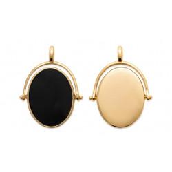Pandantiv oval negru placat...
