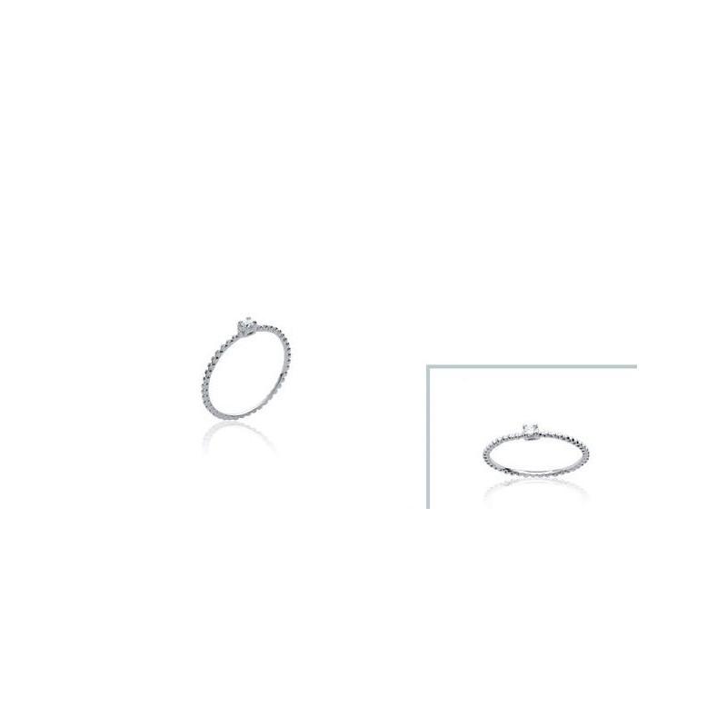 Inel din argint + pietricica alba (zirconiu)